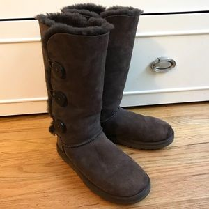 UGG Dark Brown Bailey Triple Button